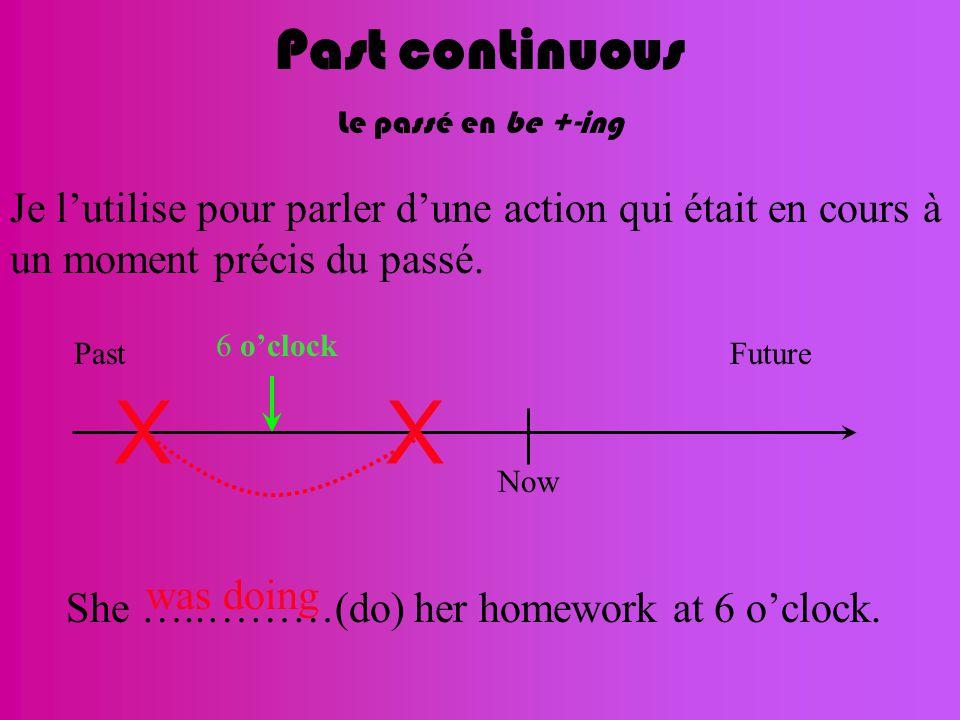 Past continuous Le passé en be +-ing Je l'utilise pour parler d'une action qui était en cours à un moment précis du passé. Now FuturePast XX 6 o'clock