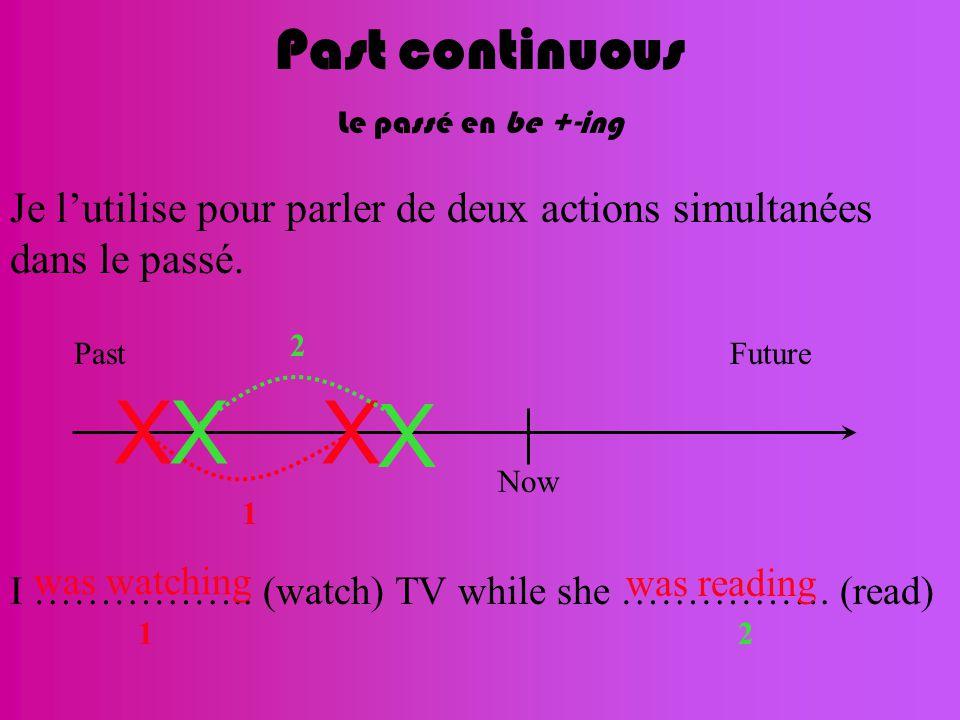 Past continuous Le passé en be +-ing Je l'utilise pour parler de deux actions simultanées dans le passé. Now FuturePast XX 1 X X 2 I …………….. (watch) T