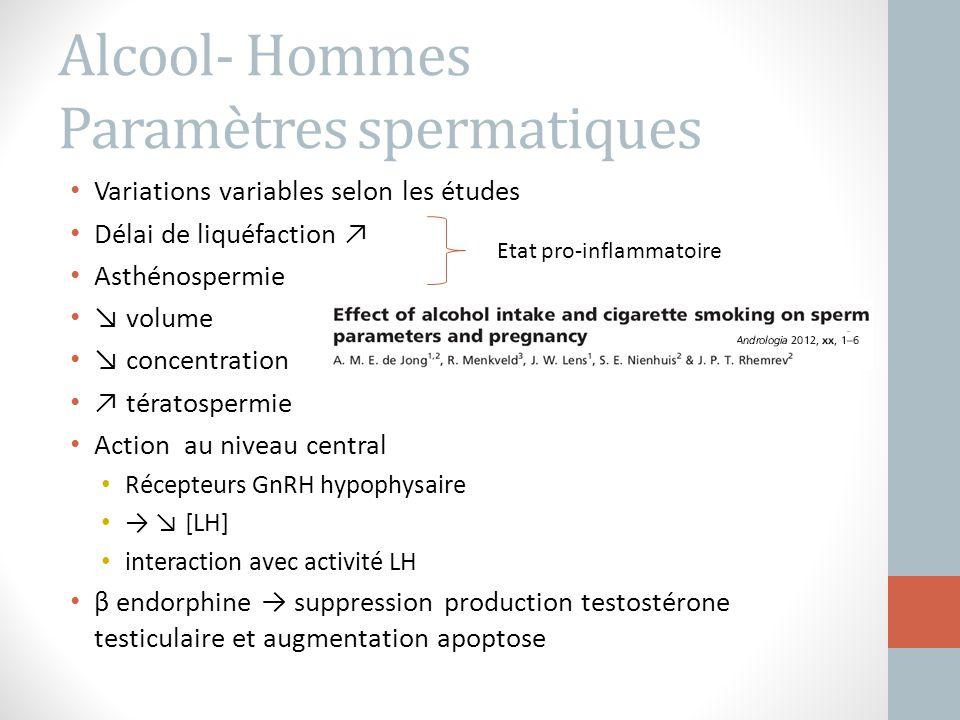 Alcool- Hommes Paramètres spermatiques Variations variables selon les études Délai de liquéfaction ↗ Asthénospermie ↘ volume ↘ concentration ↗ tératos