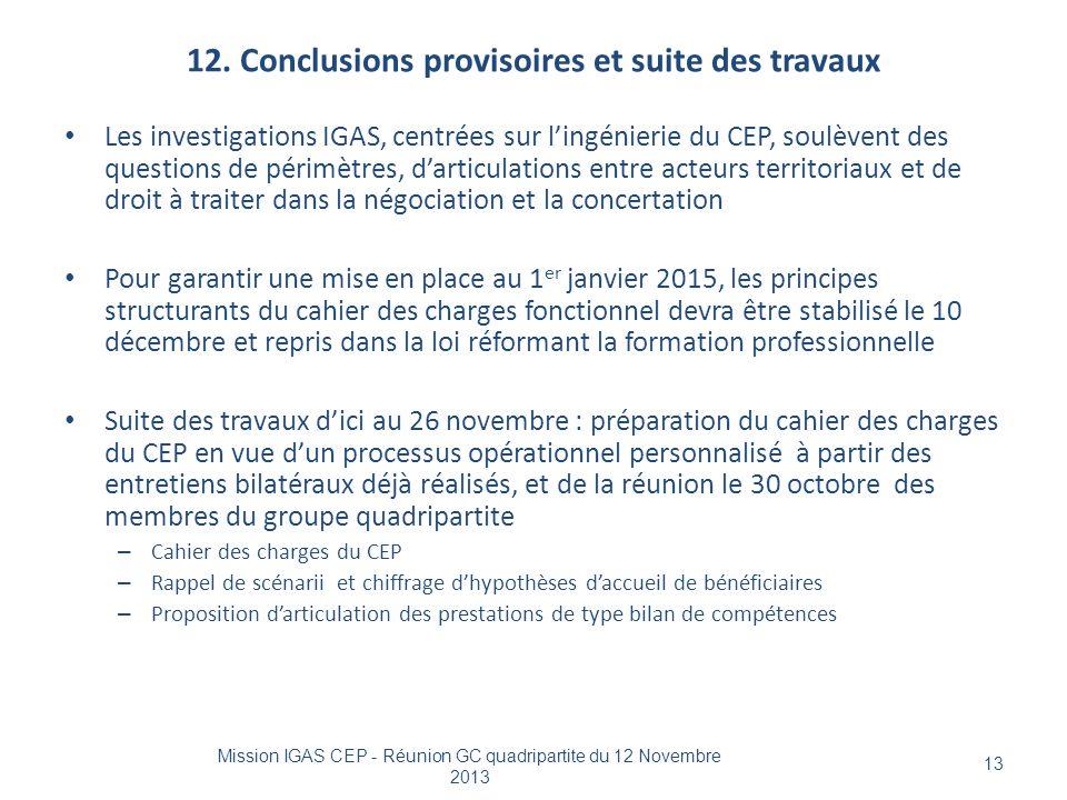 12. Conclusions provisoires et suite des travaux Mission IGAS CEP - Réunion GC quadripartite du 12 Novembre 2013 13 Les investigations IGAS, centrées