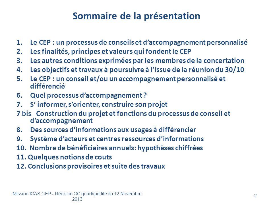 Sommaire de la présentation 1.Le CEP : un processus de conseils et d'accompagnement personnalisé 2.Les finalités, principes et valeurs qui fondent le
