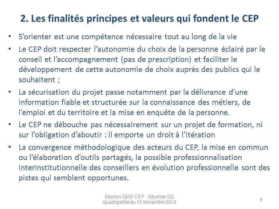 2. Les finalités principes et valeurs qui fondent le CEP S'orienter est une compétence nécessaire tout au long de la vie Le CEP doit respecter l'auton