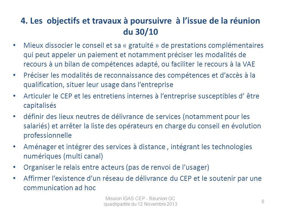4. Les objectifs et travaux à poursuivre à l'issue de la réunion du 30/10 Mieux dissocier le conseil et sa « gratuité » de prestations complémentaires