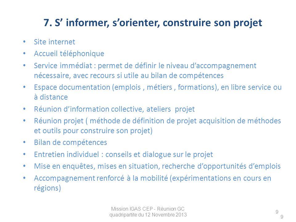 9 7. S' informer, s'orienter, construire son projet Site internet Accueil téléphonique Service immédiat : permet de définir le niveau d'accompagnement