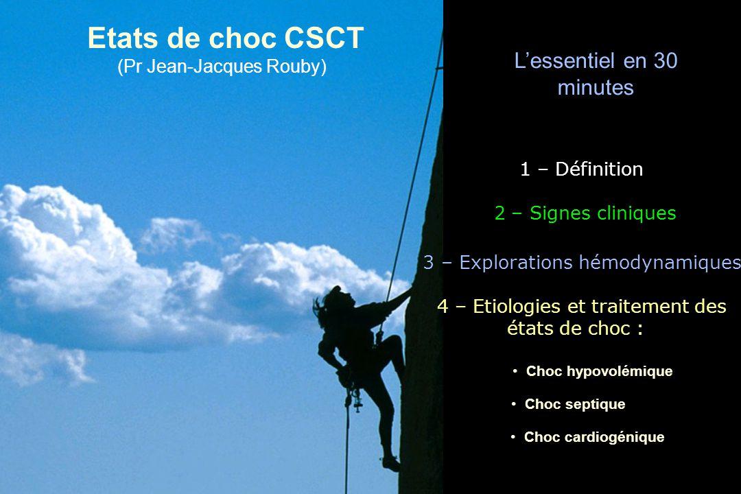 Etats de choc CSCT (Pr Jean-Jacques Rouby) 1 – Définition 3 – Explorations hémodynamiques 2 – Signes cliniques 4 – Etiologies et traitement des états