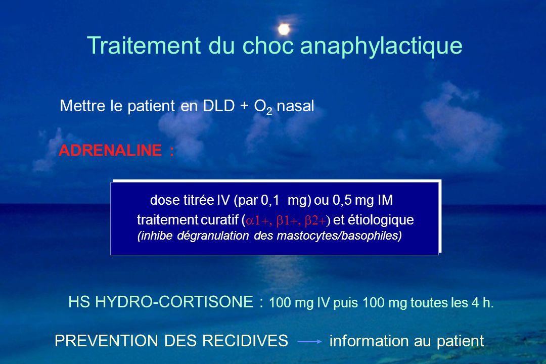 dose titrée IV (par 0,1 mg) ou 0,5 mg IM traitement curatif (  et étiologique (inhibe dégranulation des mastocytes/basophiles) Traitemen