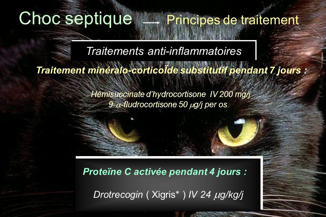 Traitement minéralo-corticoÏde substitutif pendant 7 jours : Hémisuccinate d'hydrocortisone IV 200 mg/j 9-  -fludrocortisone 50  g/j per os Choc sep