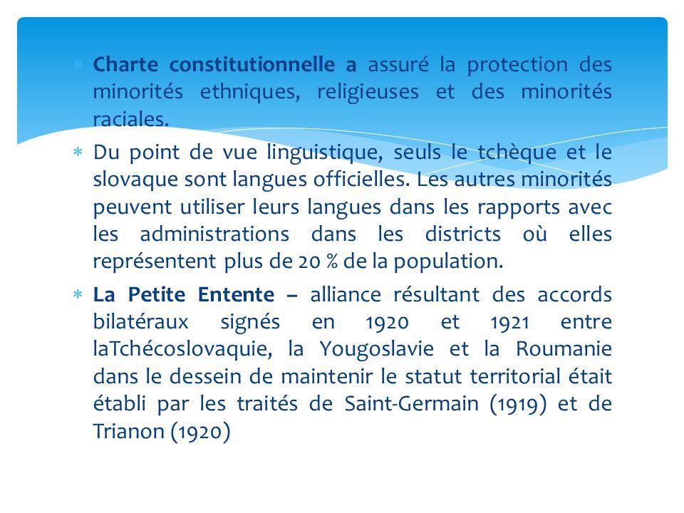  Charte constitutionnelle a assuré la protection des minorités ethniques, religieuses et des minorités raciales.  Du point de vue linguistique, seul