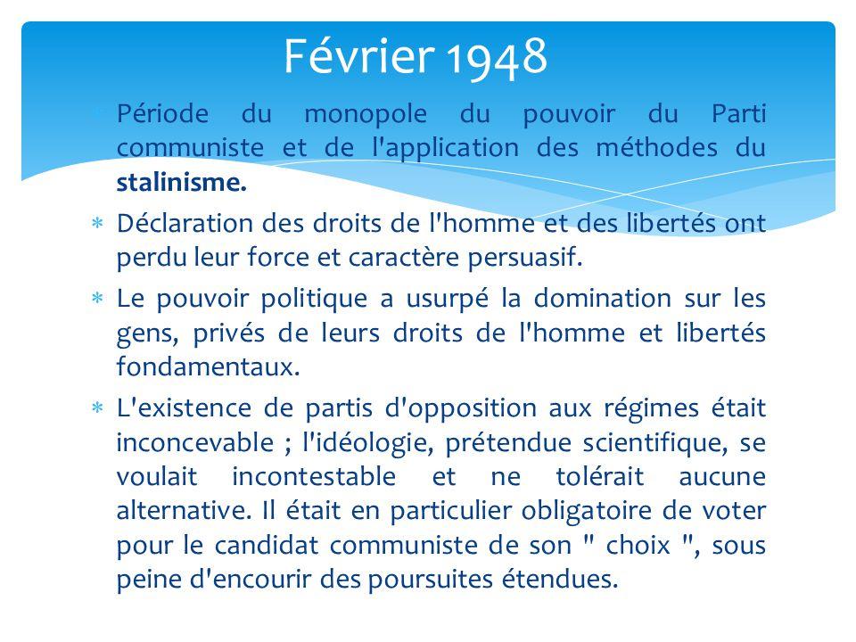  Période du monopole du pouvoir du Parti communiste et de l'application des méthodes du stalinisme.  Déclaration des droits de l'homme et des libert