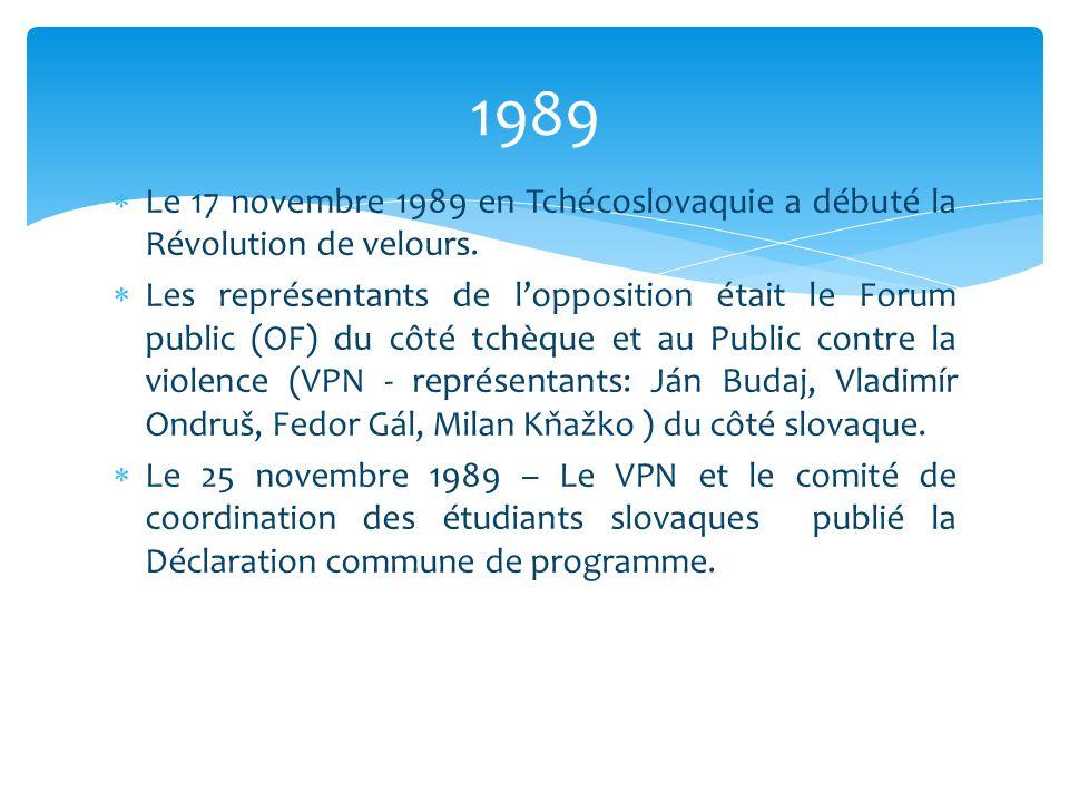  Le 17 novembre 1989 en Tchécoslovaquie a débuté la Révolution de velours.  Les représentants de l'opposition était le Forum public (OF) du côté tch