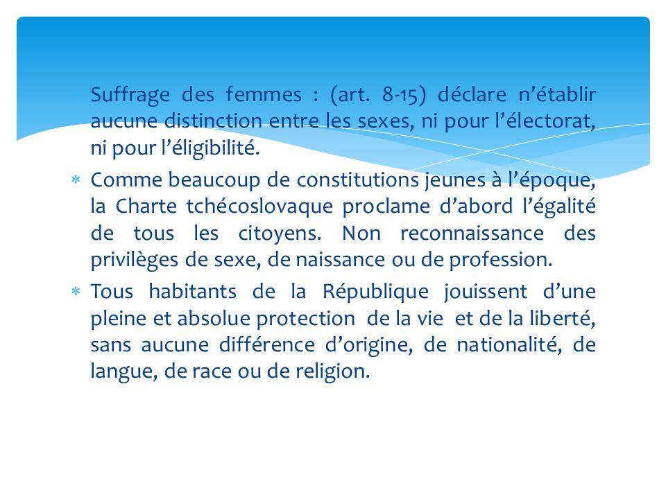  Suffrage des femmes : (art. 8-15) déclare n'établir aucune distinction entre les sexes, ni pour l'électorat, ni pour l'éligibilité.  Comme beaucoup