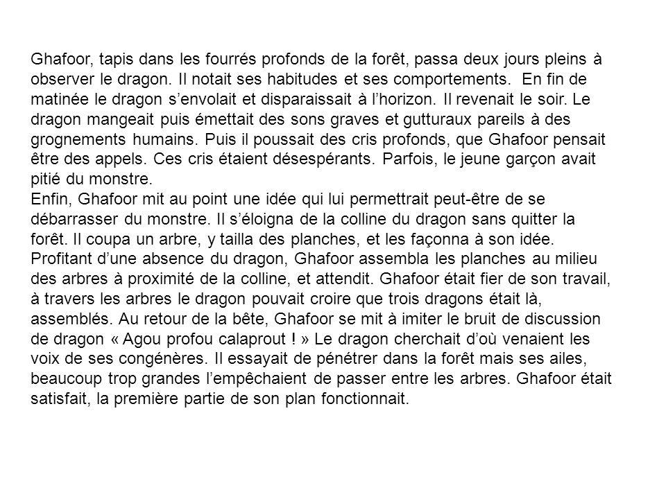 Ghafoor, tapis dans les fourrés profonds de la forêt, passa deux jours pleins à observer le dragon.
