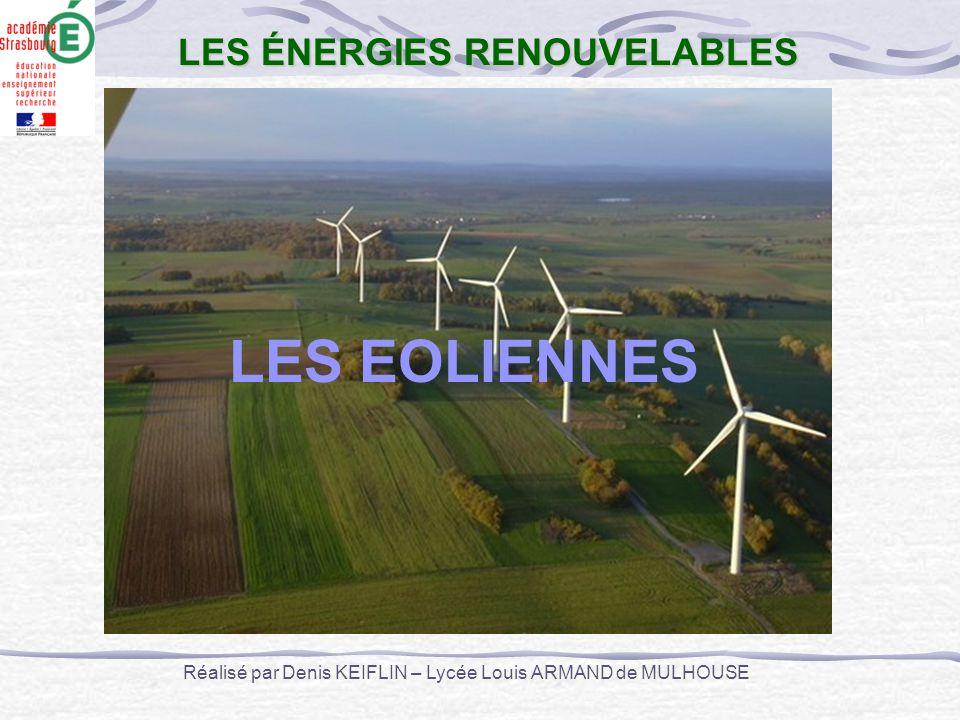 LES EOLIENNES LES ÉNERGIES RENOUVELABLES Réalisé par Denis KEIFLIN – Lycée Louis ARMAND de MULHOUSE