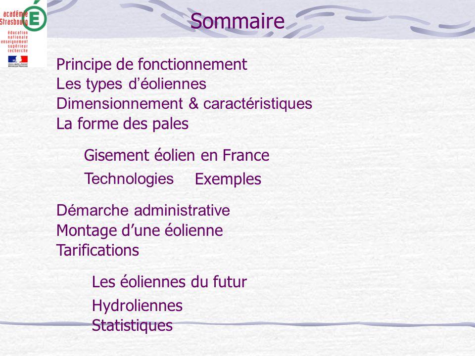 Sommaire Principe de fonctionnement Les types d'éoliennes La forme des pales Gisement éolien en France Dimensionnement & caractéristiques Technologies