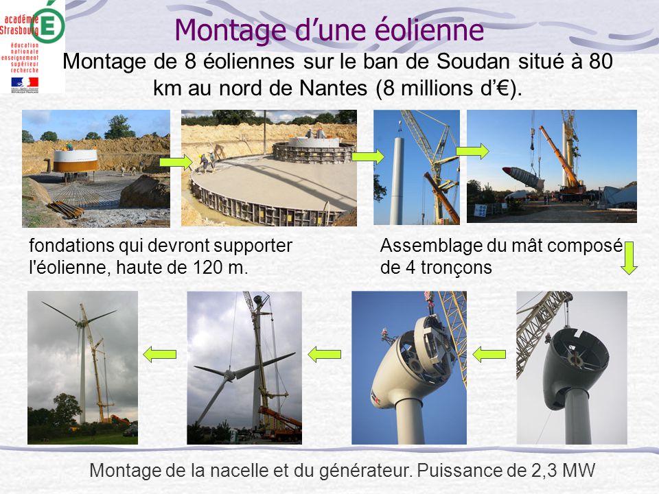 Montage d'une éolienne fondations qui devront supporter l'éolienne, haute de 120 m. Assemblage du mât composé de 4 tronçons Montage de la nacelle et d