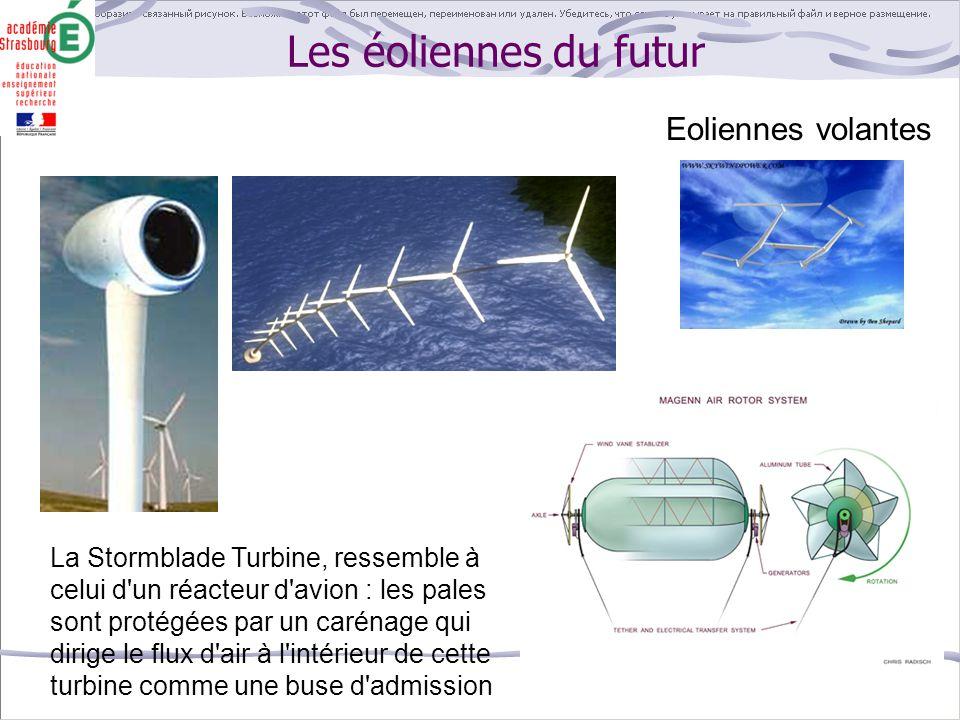 Les éoliennes du futur La Stormblade Turbine, ressemble à celui d'un réacteur d'avion : les pales sont protégées par un carénage qui dirige le flux d'
