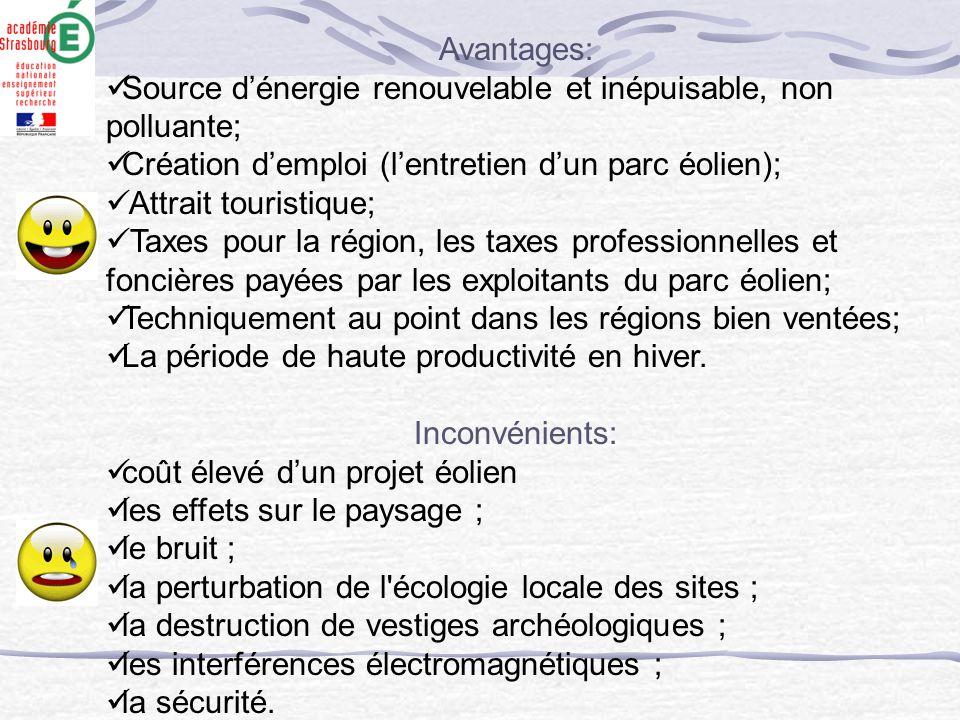 Avantages: Source d'énergie renouvelable et inépuisable, non polluante; Création d'emploi (l'entretien d'un parc éolien); Attrait touristique; Taxes p