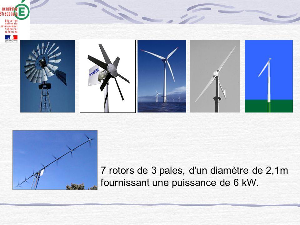 7 rotors de 3 pales, d'un diamètre de 2,1m fournissant une puissance de 6 kW.