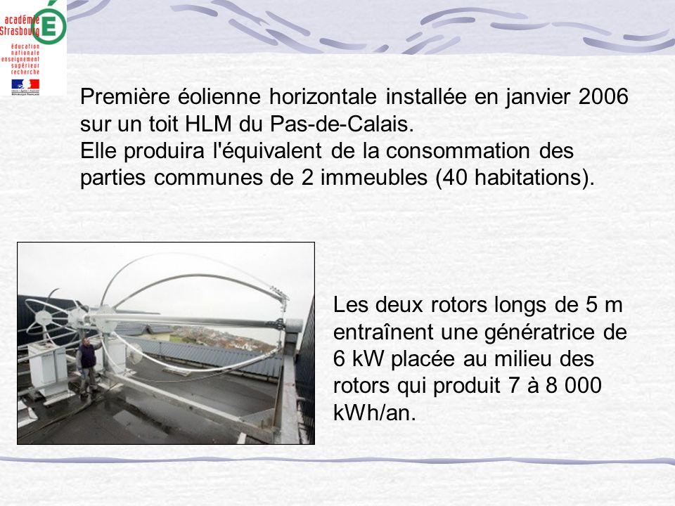 Première éolienne horizontale installée en janvier 2006 sur un toit HLM du Pas-de-Calais. Elle produira l'équivalent de la consommation des parties co