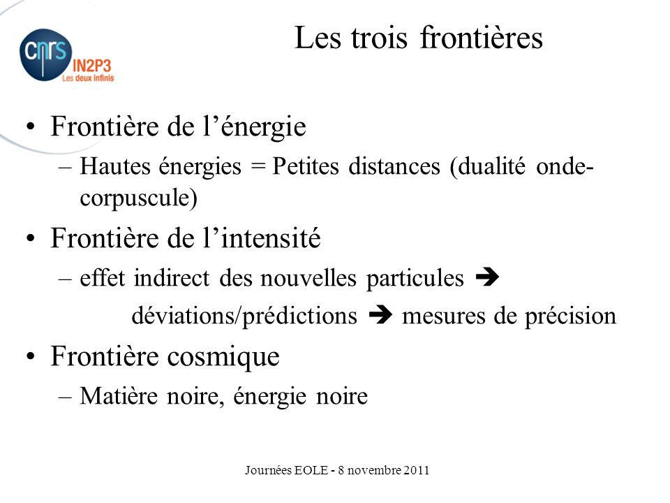 Journées EOLE - 8 novembre 2011 Some key facts: New limits of stability (37Ne) Discovery of 48Ni 2p radioactivity New deformations, New magicity Nuclear molecules New detectors (EXOGAM, VAMOS) R&D for SPIRAL2: ALTO (agreementDUBNA-IPNO) R&D future detectors: AGATA - Origin of nuclear binding - Limits of nuclear stability - Heavy and super-heavy elements - Formation of elements in the universe (nucléosynthesis) SPIRAL CAEN Structure et dynamique des noyaux Nature de la matière nucléaire KEEP INTERNATIONAL COMPETITIVITY OF GANIL SPIRAL2 project SPIRAL2 project - 2002-2008 experiments with SPIRAL I SPIRAL II, a priority stated by NuPECC 190M€ (full cost) - cofinanced by Region (33%) SPIRAL II, a priority stated by NuPECC 190M€ (full cost) - cofinanced by Region (33%) Into operation: 2012-2015 Into operation: 2012-2015 -Complementarity with GSI/FAIR - Future with EURISOL… Physique nucléaire: émergence de la complexité