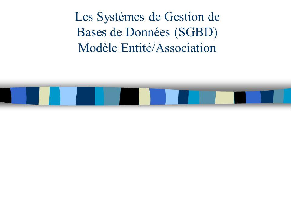 Les Systèmes de Gestion de Bases de Données (SGBD) Modèle Entité/Association
