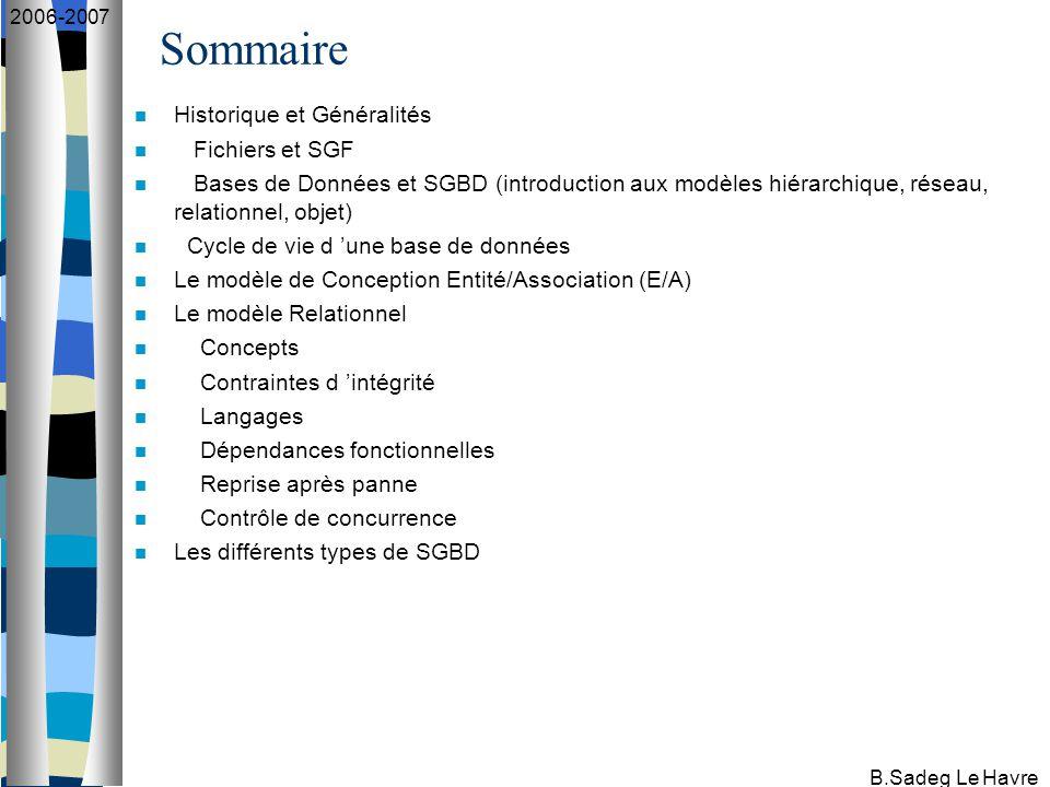 B.Sadeg Le Havre 2006-2007 Remarques Si, pour une association, il existe des entités pour lesquelles la cardinalité du couple E/A est (0,1) et d 'autres pour laquelle elle est de (1,1), alors privilégier la cardinalité (1,1).