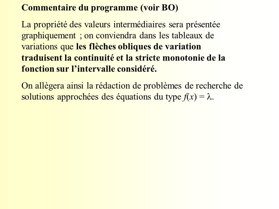 Commentaire du programme (voir BO) La propriété des valeurs intermédiaires sera présentée graphiquement ; on conviendra dans les tableaux de variation