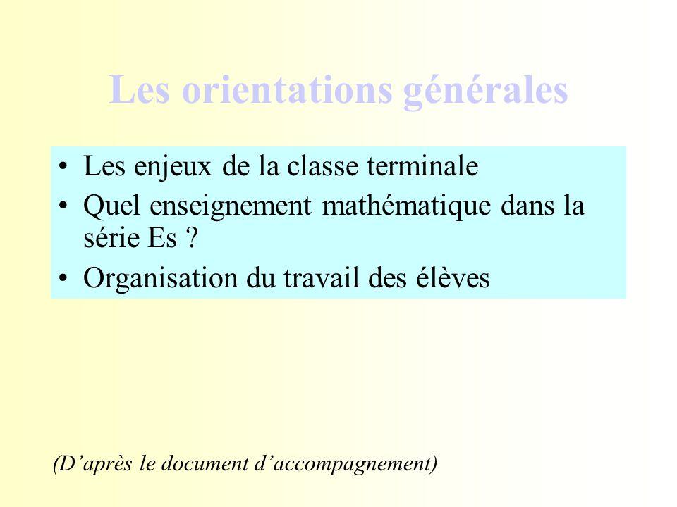 Les orientations générales Les enjeux de la classe terminale Quel enseignement mathématique dans la série Es ? Organisation du travail des élèves (D'a