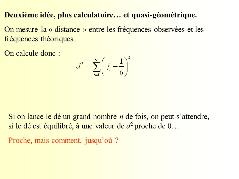 Deuxième idée, plus calculatoire… et quasi-géométrique. On mesure la « distance » entre les fréquences observées et les fréquences théoriques. On calc
