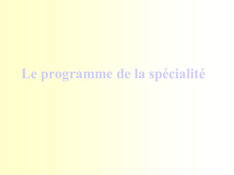 Le programme de la spécialité