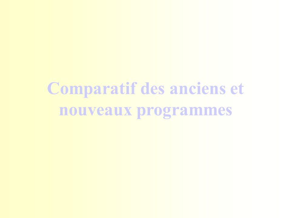Comparatif des anciens et nouveaux programmes
