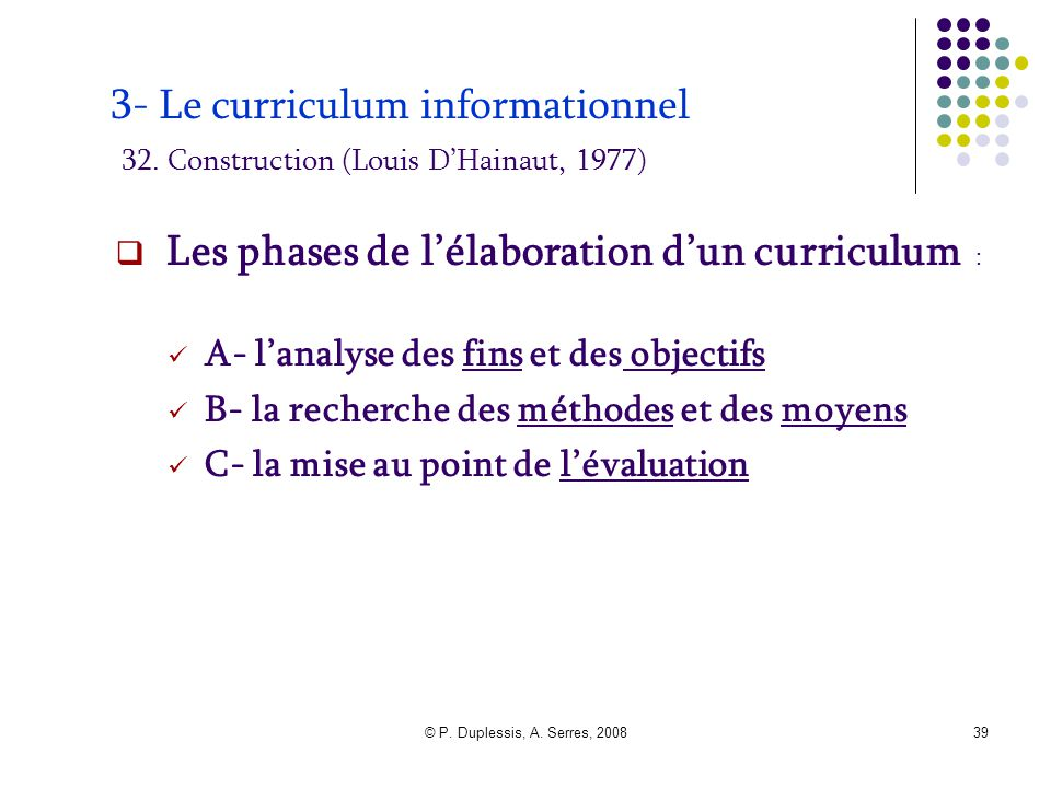 © P. Duplessis, A. Serres, 200839 3- Le curriculum informationnel 32. Construction (Louis D'Hainaut, 1977)  Les phases de l'élaboration d'un curricul
