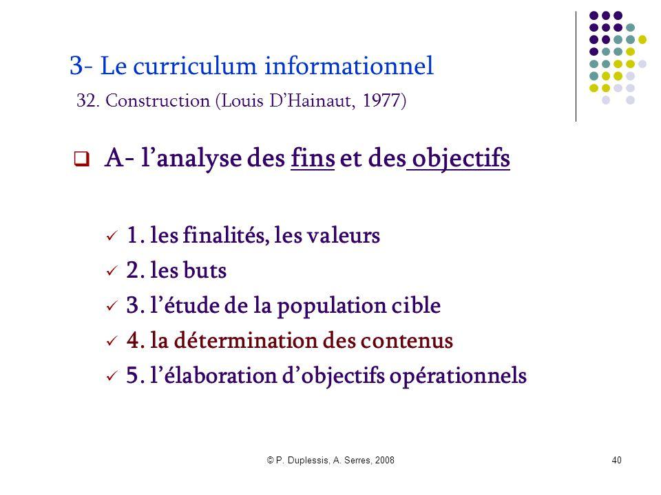 © P. Duplessis, A. Serres, 200840 3- Le curriculum informationnel 32. Construction (Louis D'Hainaut, 1977)  A- l'analyse des fins et des objectifs 1.