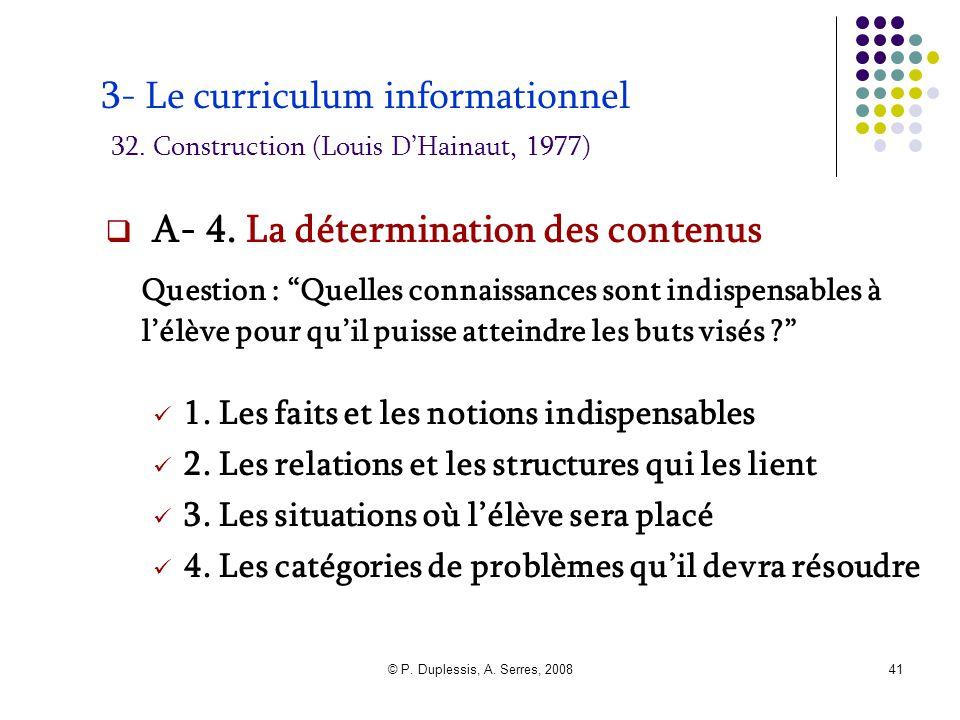 © P. Duplessis, A. Serres, 200841 3- Le curriculum informationnel 32. Construction (Louis D'Hainaut, 1977)  A- 4. La détermination des contenus Quest