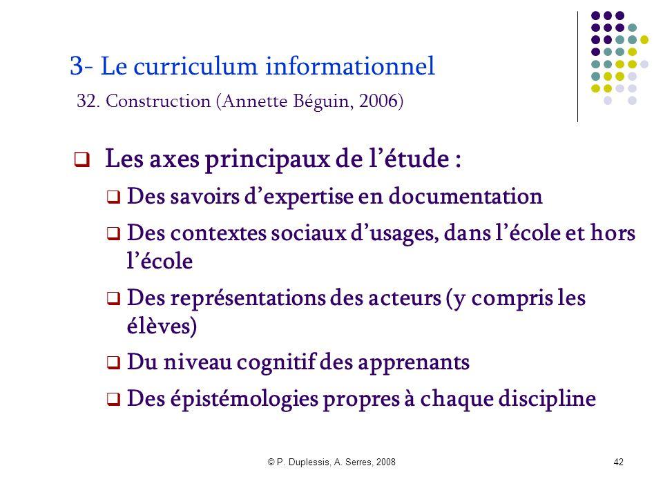 © P. Duplessis, A. Serres, 200842 3- Le curriculum informationnel 32. Construction (Annette Béguin, 2006)  Les axes principaux de l'étude :  Des sav