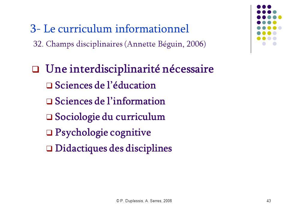 © P. Duplessis, A. Serres, 200843 3- Le curriculum informationnel 32. Champs disciplinaires (Annette Béguin, 2006)  Une interdisciplinarité nécessair