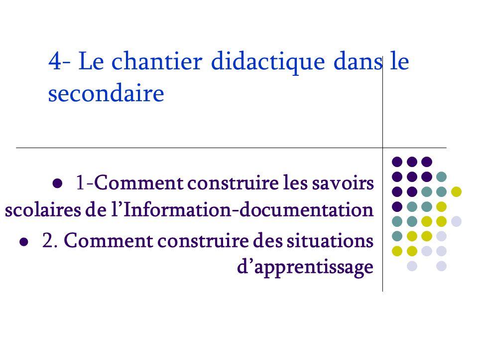 4- Le chantier didactique dans le secondaire 1-Comment construire les savoirs scolaires de l'Information-documentation 2. Comment construire des situa