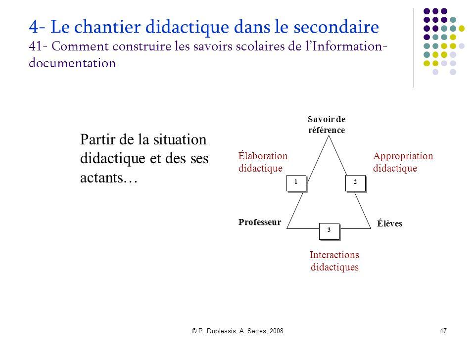 © P. Duplessis, A. Serres, 200847 4- Le chantier didactique dans le secondaire 41- Comment construire les savoirs scolaires de l'Information- document