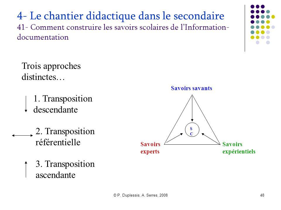 © P. Duplessis, A. Serres, 200848 4- Le chantier didactique dans le secondaire 41- Comment construire les savoirs scolaires de l'Information- document