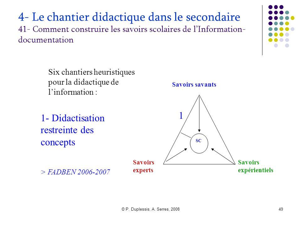 © P. Duplessis, A. Serres, 200849 4- Le chantier didactique dans le secondaire 41- Comment construire les savoirs scolaires de l'Information- document