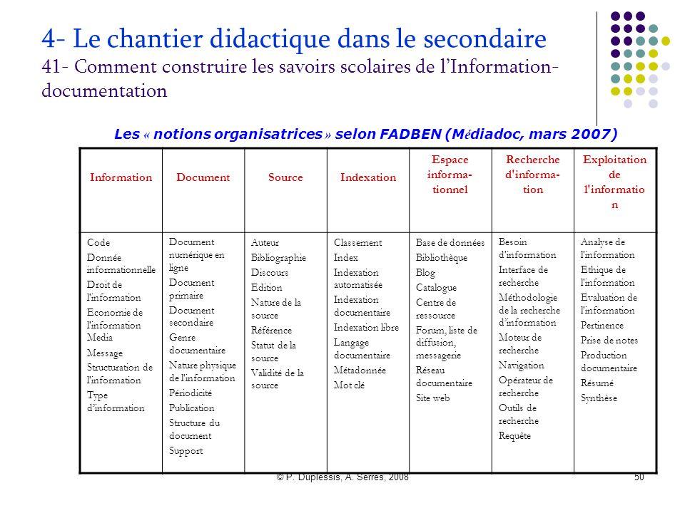 © P. Duplessis, A. Serres, 200850 4- Le chantier didactique dans le secondaire 41- Comment construire les savoirs scolaires de l'Information- document