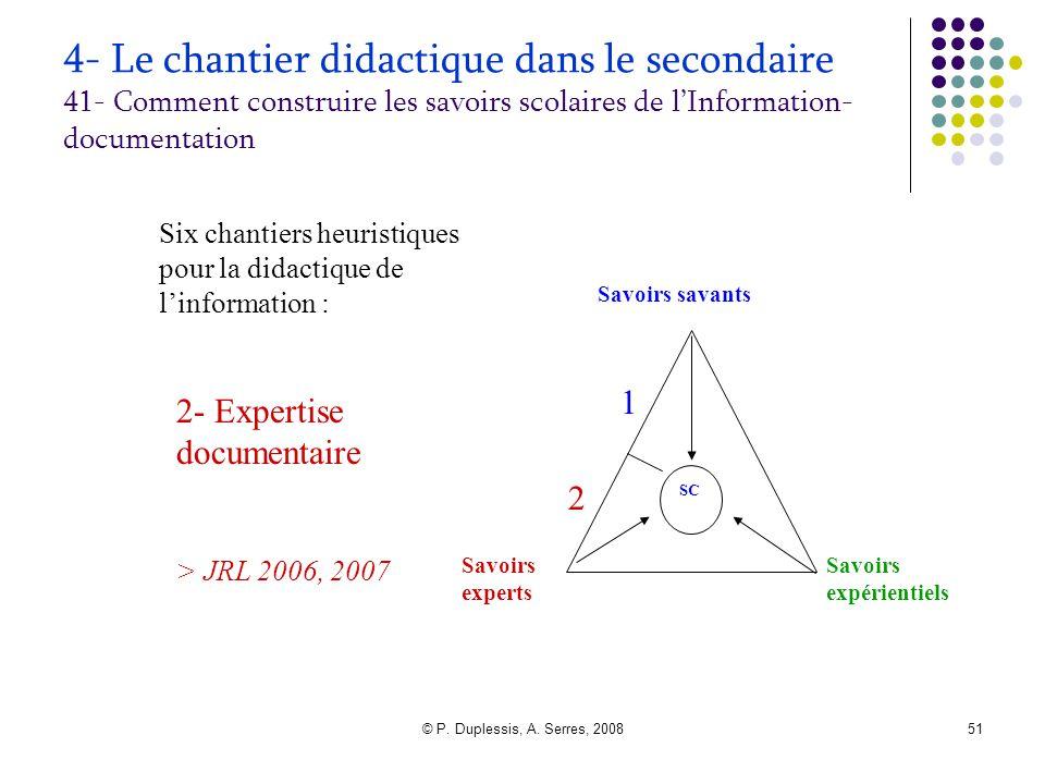 © P. Duplessis, A. Serres, 200851 4- Le chantier didactique dans le secondaire 41- Comment construire les savoirs scolaires de l'Information- document