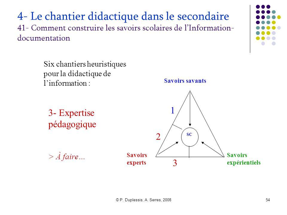 © P. Duplessis, A. Serres, 200854 4- Le chantier didactique dans le secondaire 41- Comment construire les savoirs scolaires de l'Information- document