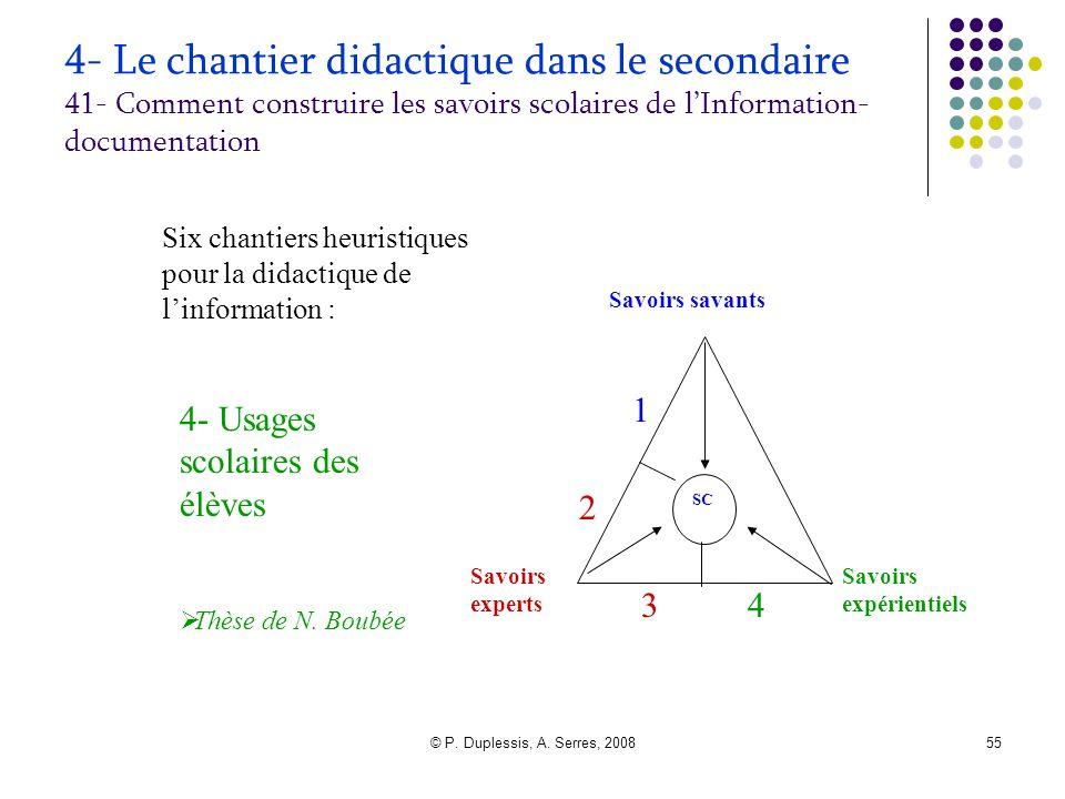 © P. Duplessis, A. Serres, 200855 4- Le chantier didactique dans le secondaire 41- Comment construire les savoirs scolaires de l'Information- document