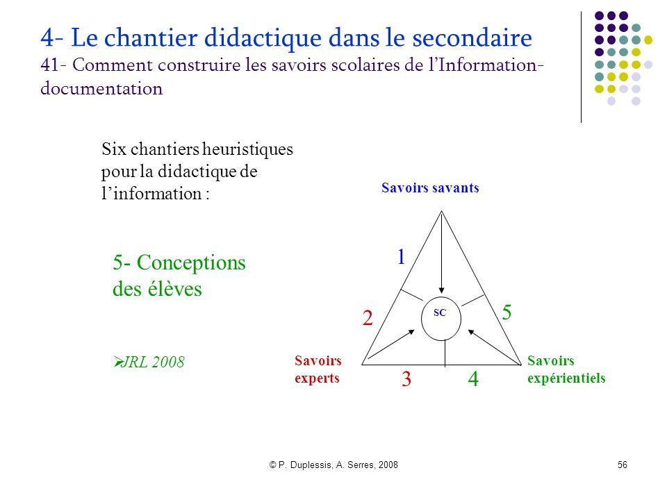 © P. Duplessis, A. Serres, 200856 4- Le chantier didactique dans le secondaire 41- Comment construire les savoirs scolaires de l'Information- document