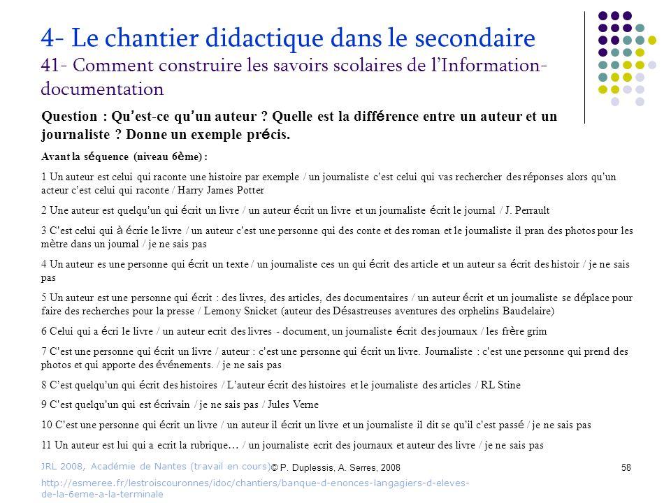 © P. Duplessis, A. Serres, 200858 4- Le chantier didactique dans le secondaire 41- Comment construire les savoirs scolaires de l'Information- document