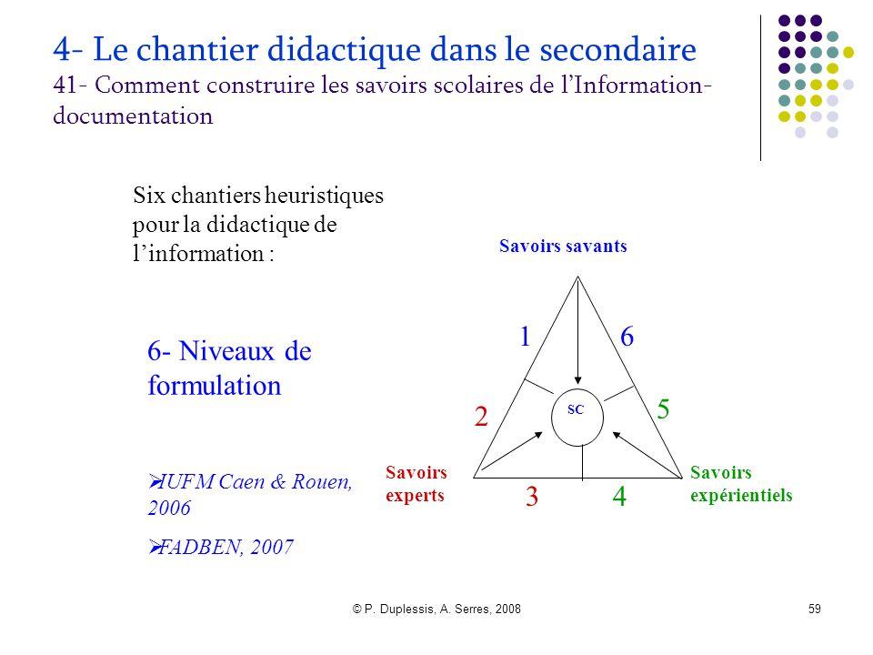 © P. Duplessis, A. Serres, 200859 4- Le chantier didactique dans le secondaire 41- Comment construire les savoirs scolaires de l'Information- document