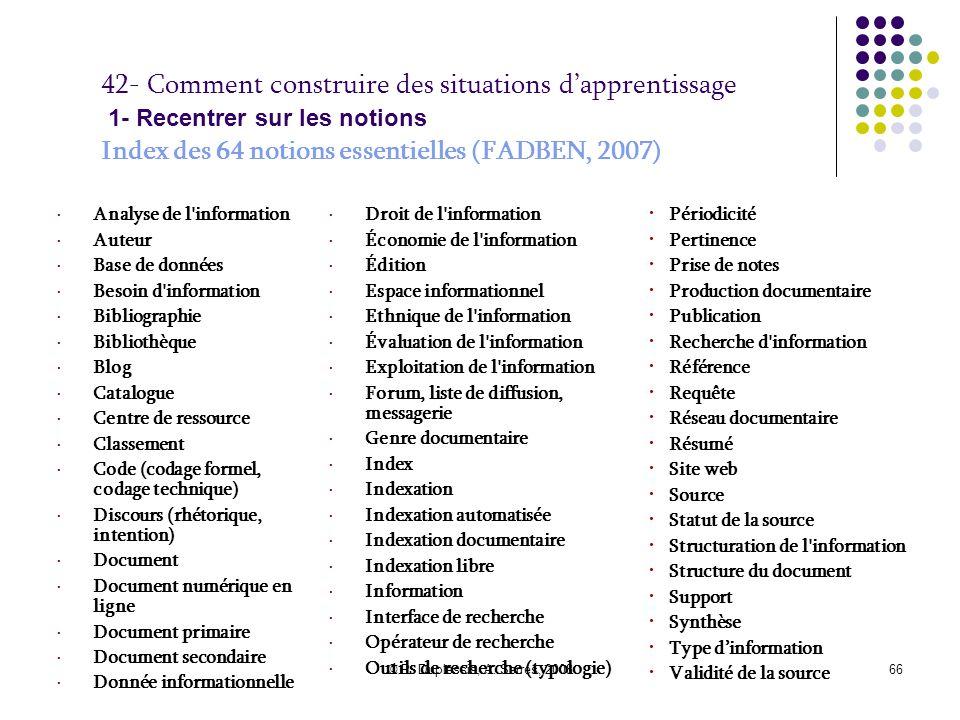 © P. Duplessis, A. Serres, 200866 42- Comment construire des situations d'apprentissage 1- Recentrer sur les notions Index des 64 notions essentielles