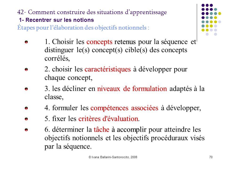 © Ivana Ballarini-Santonocito, 200870 42- Comment construire des situations d'apprentissage 1- Recentrer sur les notions Étapes pour l'élaboration des