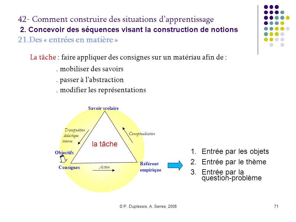 © P. Duplessis, A. Serres, 200871 42- Comment construire des situations d'apprentissage 2. Concevoir des séquences visant la construction de notions 2